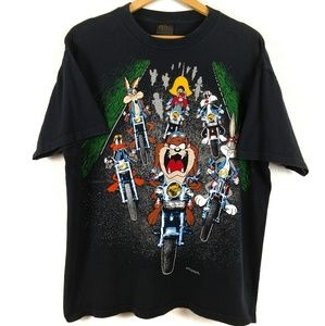 Looney Tunes Warner Bros 1993 Motorcycle Tshirt